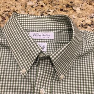 Brooks Brothers Size 17 36/37, Green/White  Shirt